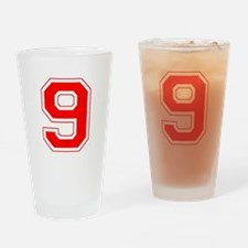 Varsity Font Number 9 Red Drinking Glass
