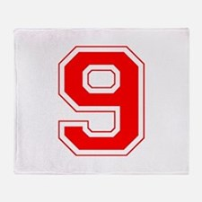 Varsity Font Number 9 Red Throw Blanket