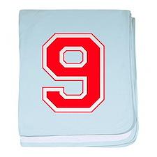 Varsity Font Number 9 Red baby blanket