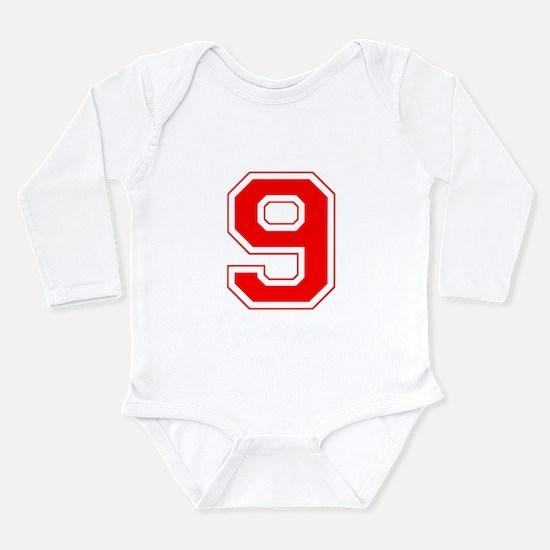 Varsity Font Number 9 Red Long Sleeve Infant Bodys