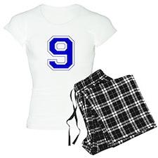 Varsity Font Number 9 Blue Pajamas