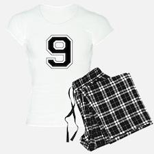Varsity Font Number 9 Black Pajamas