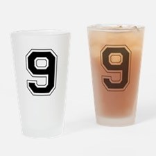 Varsity Font Number 9 Black Drinking Glass