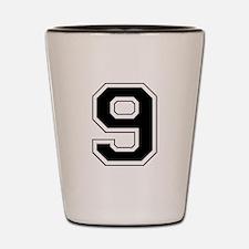 Varsity Font Number 9 Black Shot Glass