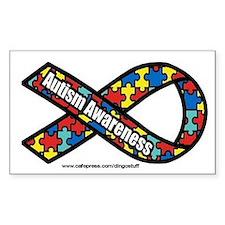 """Autism Ribbon"" Rectangle Bumper Stickers"