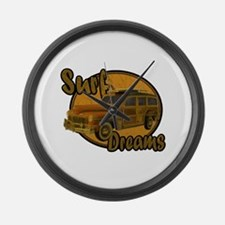 Surf Dreams Woodie Wagon Large Wall Clock
