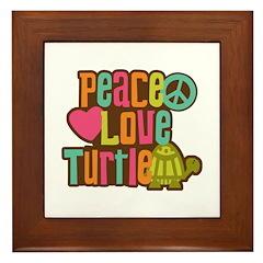 Peace Love Turtle Framed Tile