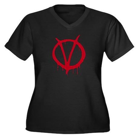 Vendetta Women's Plus Size V-Neck Dark T-Shirt