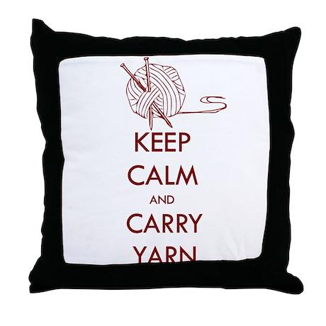 Keep Calm & Carry Yarn Throw Pillow