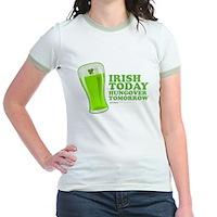 Irish Today Hungover Tomorrow Jr. Ringer T-Shirt