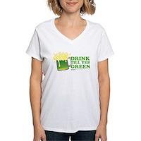 Drink Till Yer Green Women's V-Neck T-Shirt