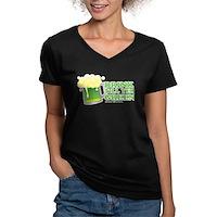Drink Till Yer Green Women's V-Neck Dark T-Shirt