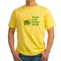 St Patrick's Wish You Were Beer Yellow T-Shirt