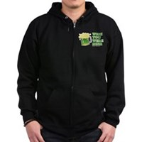 St Patrick's Wish You Were Beer Zip Hoodie (dark)