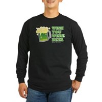 St Patrick's Wish You Were Beer Long Sleeve Dark T