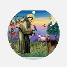 St Francis / Airedale Ornament (Round)