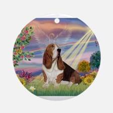 Cloud Angel & Basset Ornament (Round)