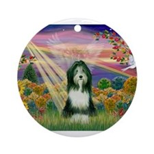 Autumn Angel / Bearded Collie Ornament (Round)
