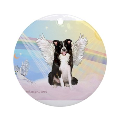 Border Collie Angel Ornament (Round)