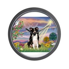 Cloud Angel /Border Collie Wall Clock