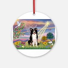 Cloud Angel /Border Collie Ornament (Round)