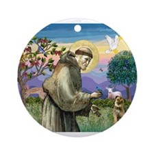 St Francis & Border T Ornament (Round)