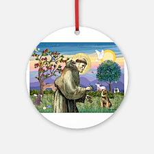 St Francis & Border T Ornament (Round)