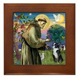 Boston terrier st francis Framed Tiles