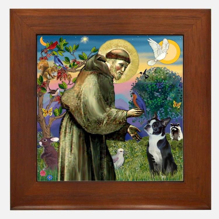 St Francis / Boston Terrier Framed Tile