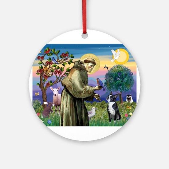 St Francis / Boston Terrier Ornament (Round)