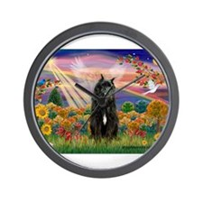 Autumn Angel & Bouvier Wall Clock