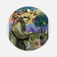St Francis / Cairn Terrier Ornament (Round)