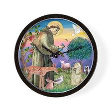 St Francis / Cocker (buff) Wall Clock