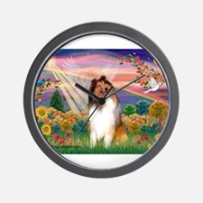 Autumn Angel / Collie (s&w) Wall Clock