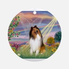 Cloud Angel & Collie Ornament (Round)