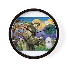 St Francis / Coton de Tulear Wall Clock
