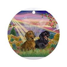 Autumn Angel / Dachshund pair Ornament (Round)