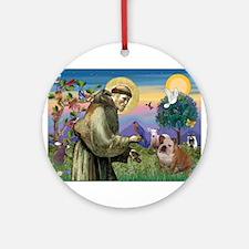 St Francis / Bulldog Ornament (Round)