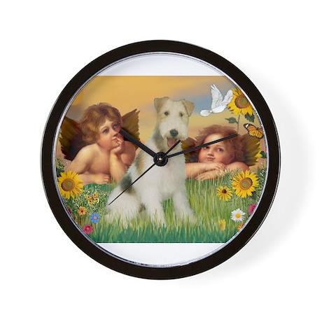 Angels & Wire Fox Terrier Wall Clock