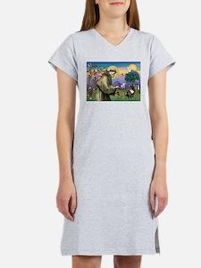 St Francis / Fr Bulldog (brin Women's Nightshirt