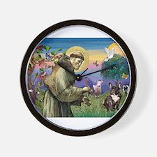 St Francis / Fr Bulldog (brin Wall Clock