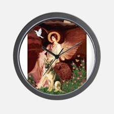 Seated Angel / German Shepher Wall Clock