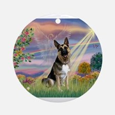 Cloud Angel /German Shepherd Ornament (Round)