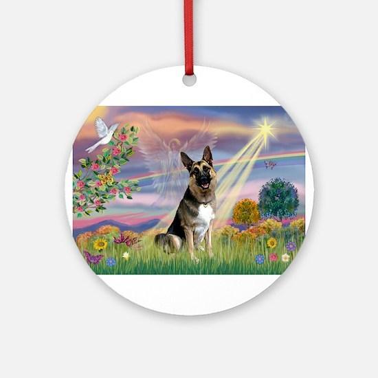 Cloud Angel /German Shepherd Ornament (Round)