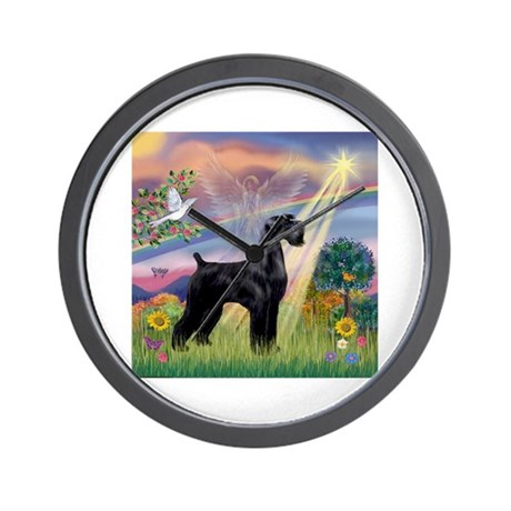 Cloud Angel / G Schnauzer (bl Wall Clock