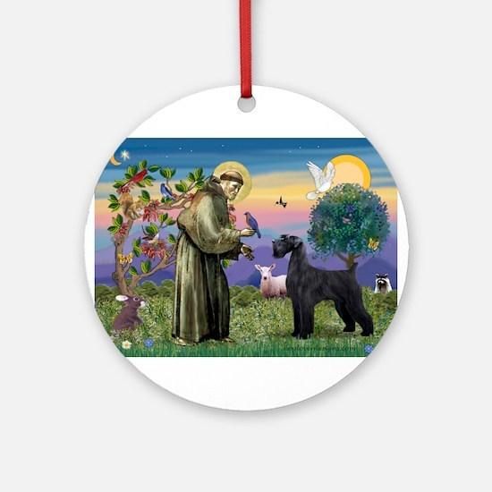 St Francis /G Schnauzer(blk) Ornament (Round)
