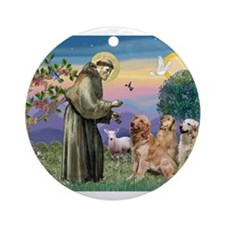 St Francis / 3 Goldens Ornament (Round)