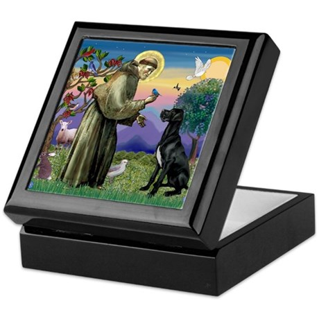 St Francis / Great Dane (blk) Keepsake Box