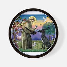 St Francis / Great Dane (blk) Wall Clock