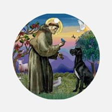 St Francis / Great Dane (blk) Ornament (Round)